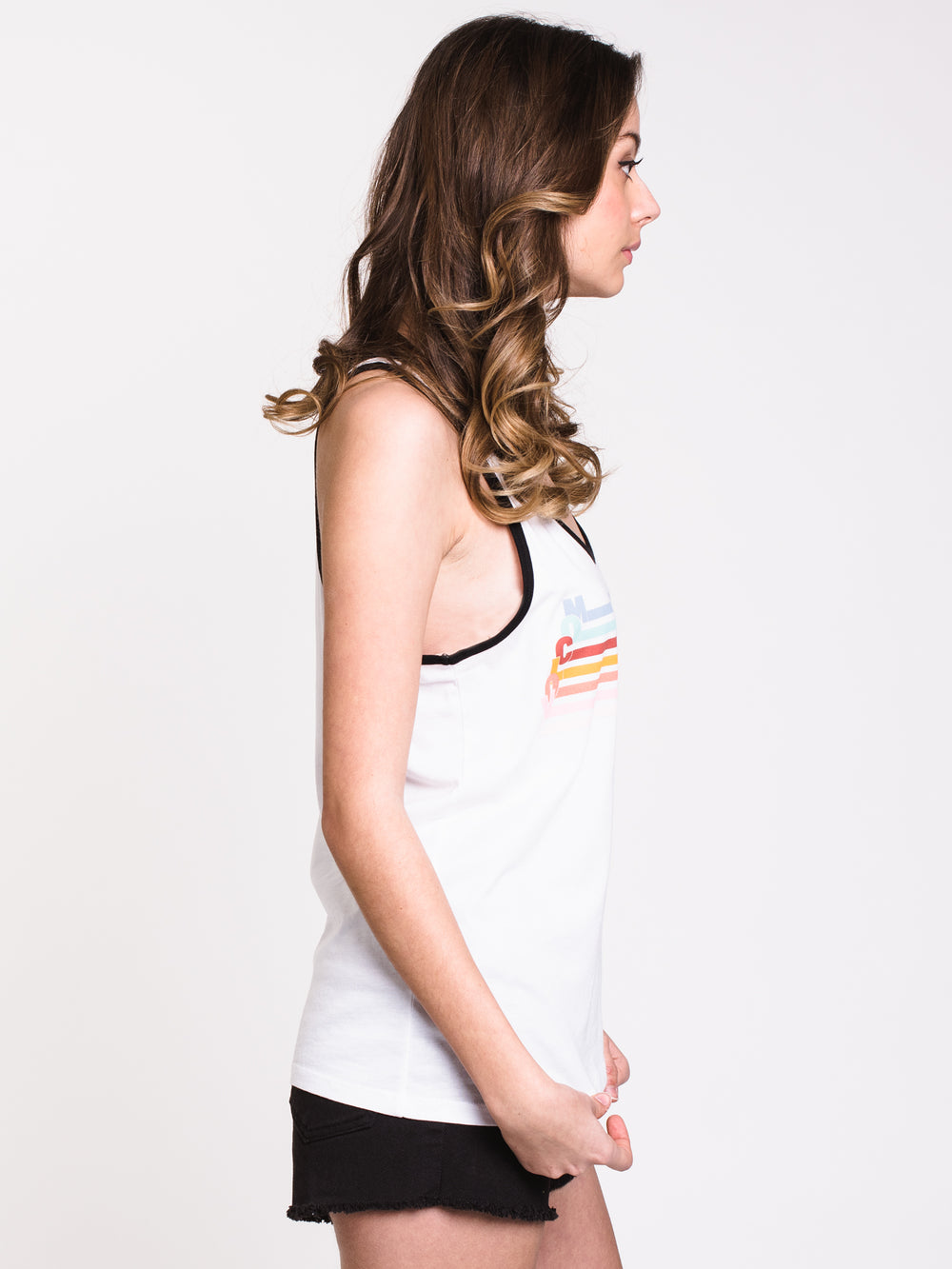 WOMENS STN STAX RINGER TANK - WHITE - CLEARANCE