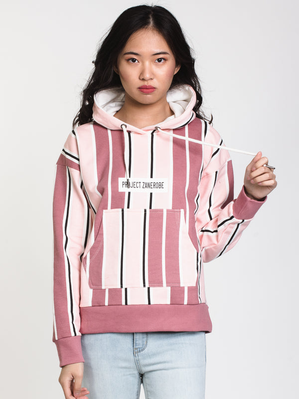 WOMENS PIN BLADE SPLIT HOODIE - ASH ROSE
