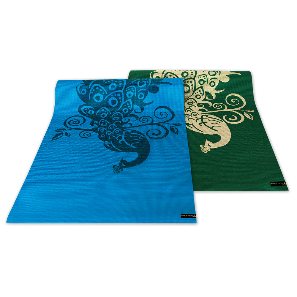 Wailana Peacock Design Yoga and Pilates Fitness Mat