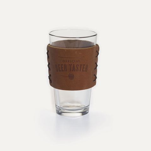 National Geographic Beer Glass and Leather Sleeve