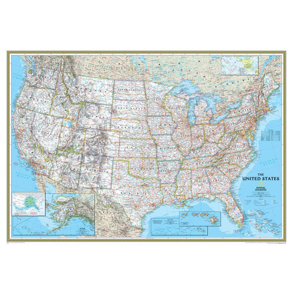 U S Political Map Classic Mounted Shop National Geographic