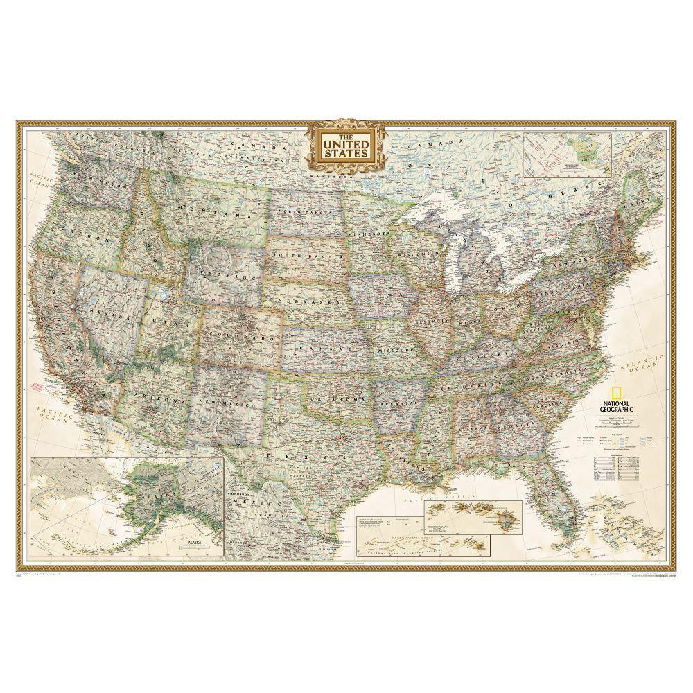 U S Political Map Earth Toned Mounted Shop National Geographic