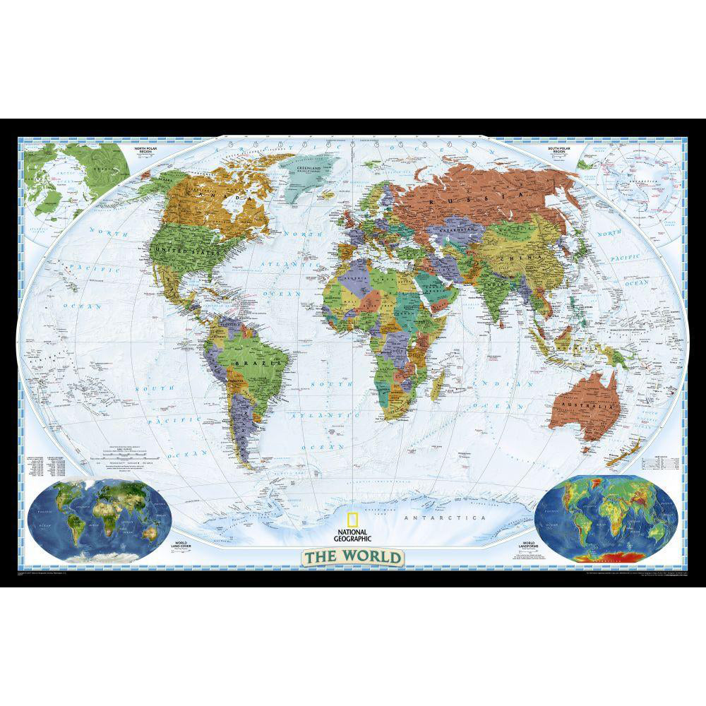 National Geographic World Political Map.World Political Map Bright Colored Mounted Shop National Geographic