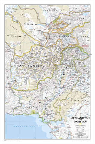 Afghanistan, Pakistan Wall Map - Laminated (21.5 x 32.5 inches)