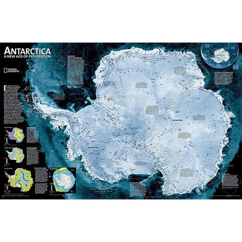 Antarctica Satellite Wall Map - Laminated (31.25 x 20.25 inches)