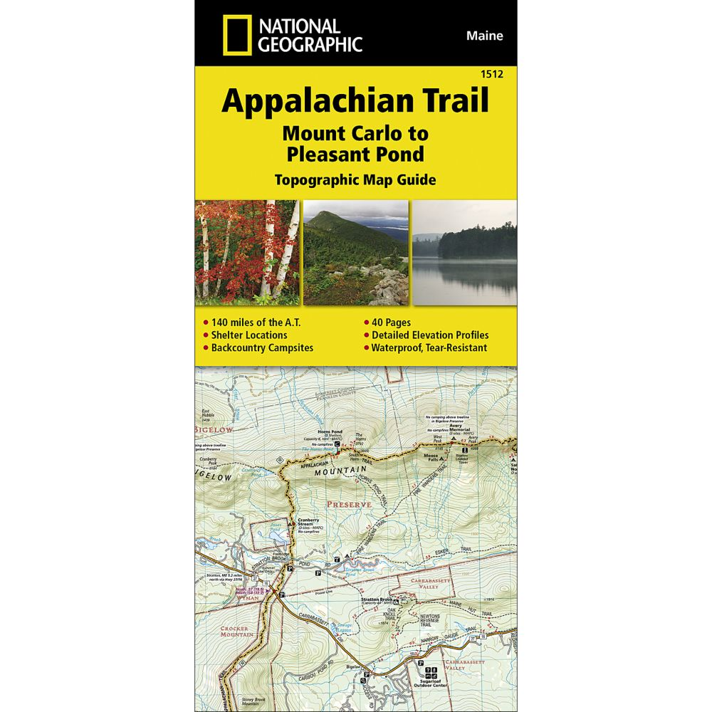 Appalachian Trail In Maine Map.Appalachian Trail Mount Carlo To Pleasant Pond Maine Trail Map