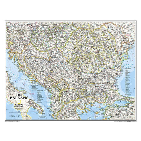 The Balkans Classic Wall Map (30.25 x 23.5 inches)