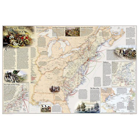 Battles of the Revolutionary War and War of 1812: 2 sided Wall Map (36 x 24 inches)