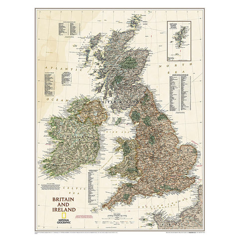 Britain and Ireland Executive Wall Map - Laminated (23.5 x 30.25 inches)