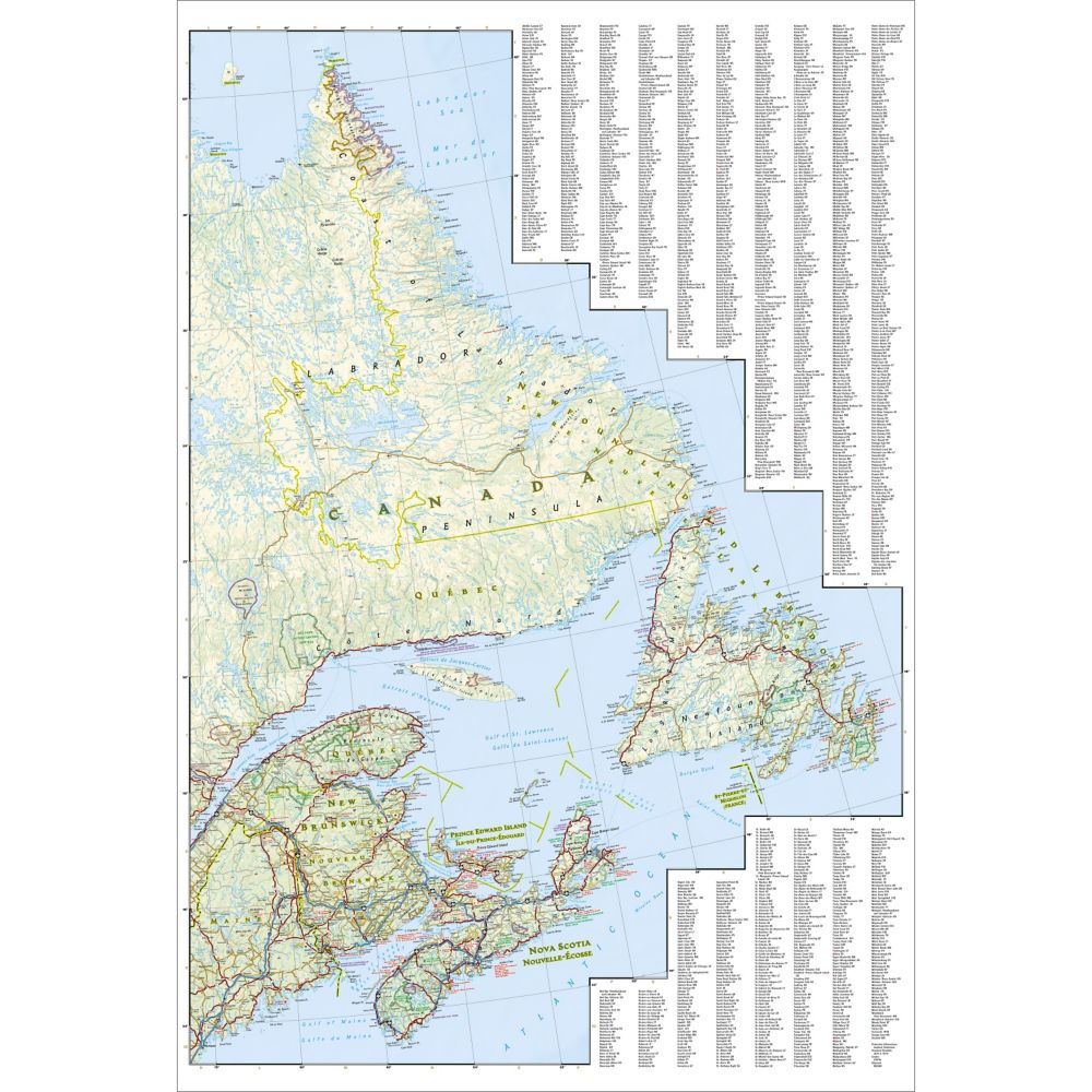 Map Of Canada East.Canada East Adventure Map