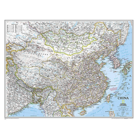 China Classic Wall Map (30.25 x 23.5 inches)