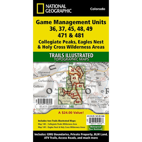 Collegiate Peaks, Eagles Nest, and Holy Cross Wilderness Areas GMU [Map Pack Bundle] Trail Maps