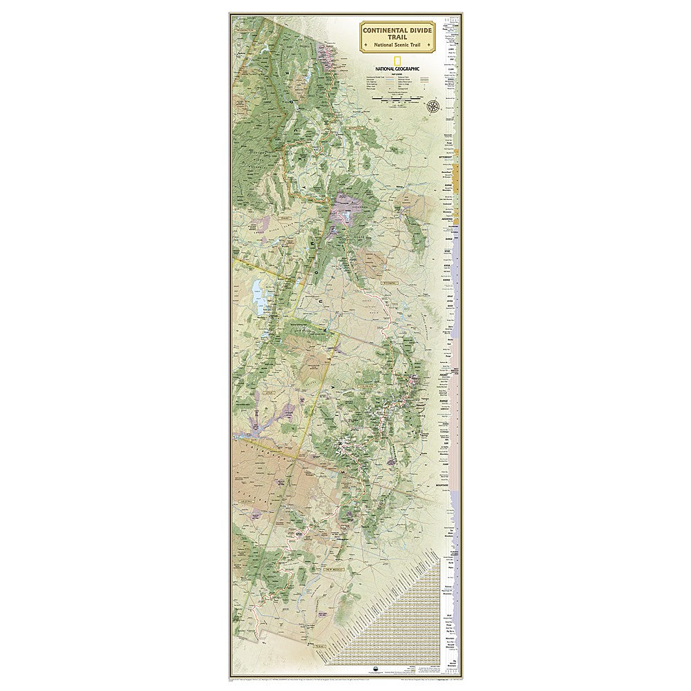 Continental Divide Trail Wall Map - laminated (18 x 48 inches)