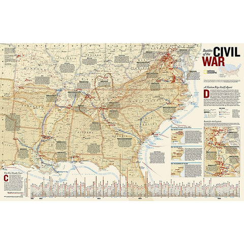 Battles of the Civil War Wall Map - Laminated (35.75 x 23.25 inches)