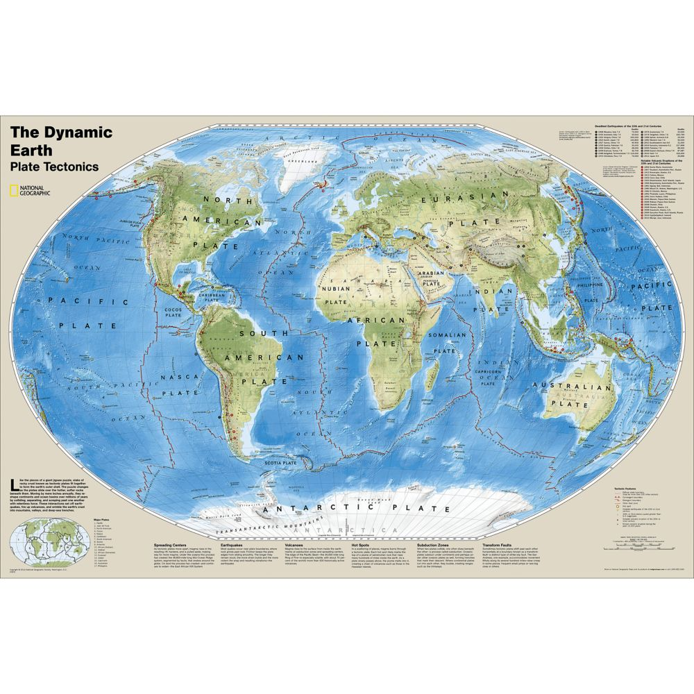 The Dynamic Earth, Plate Tectonics Wall Map (36 x 24 inches