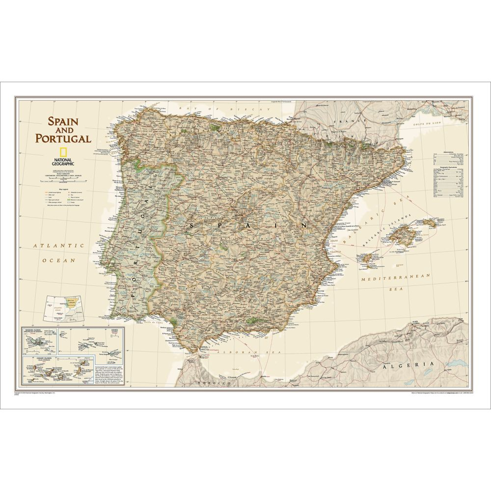 Map Of Portugal And Spain Detailed.Spain And Portugal Executive Wall Map Laminated 33 X 22 Inches