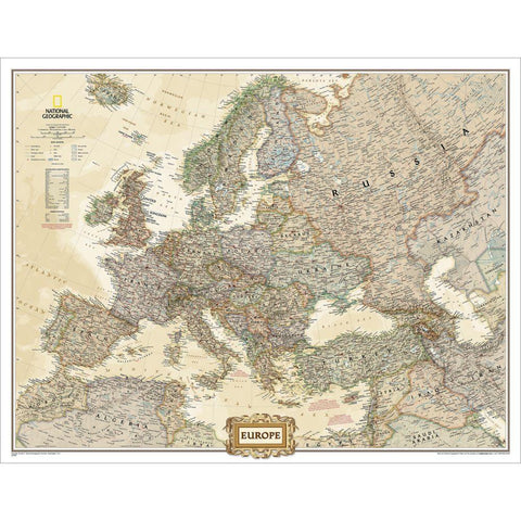 Europe Executive Enlarged Wall Map - Laminated (46 x 35.75 inches)