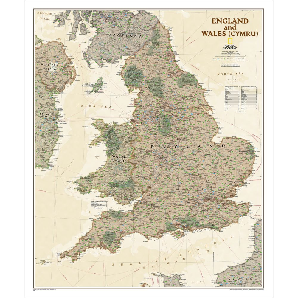 Geographic Map Of England.England And Wales Executive Wall Map 30 X 36 Inches
