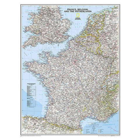 France, Belgium, and The Netherlands Classic Wall Map (23.5 x 30.25 inches)