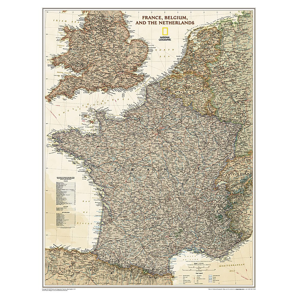 Map Of Northern France Belgium.France Belgium And The Netherlands Executive Wall Map Laminated 23 X 30 Inches