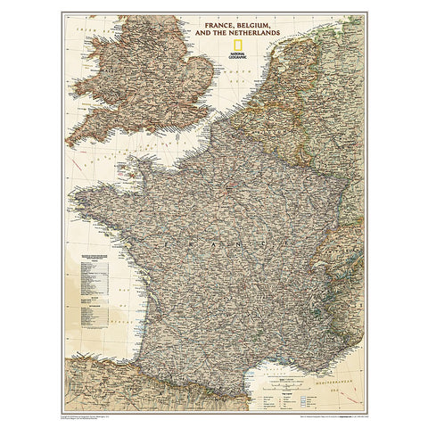 France, Belgium, and The Netherlands Executive Wall Map (23 x 30 inches)