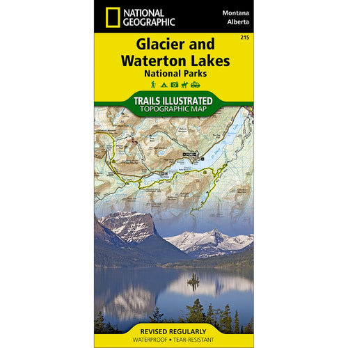 Image of Glacier and Waterton Lakes National Parks Trail Map (#215)