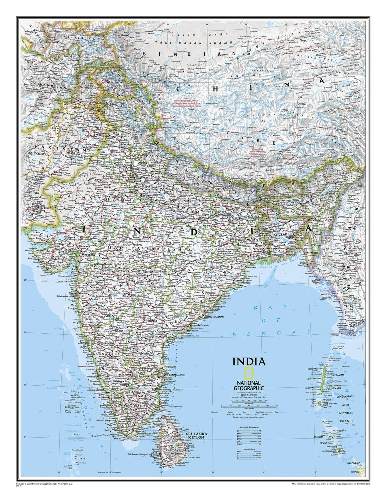 Map Of India Geographic.India Classic Wall Map 23 5 X 30 25 Inches Shop National Geographic