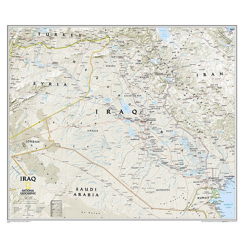 Iraq Classic Wall Map - Laminated (28.25 x 24.25 inches)
