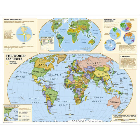 Kids Beginners World Education: Grades K-3 Wall Map - Laminated (51 x 40 inches)