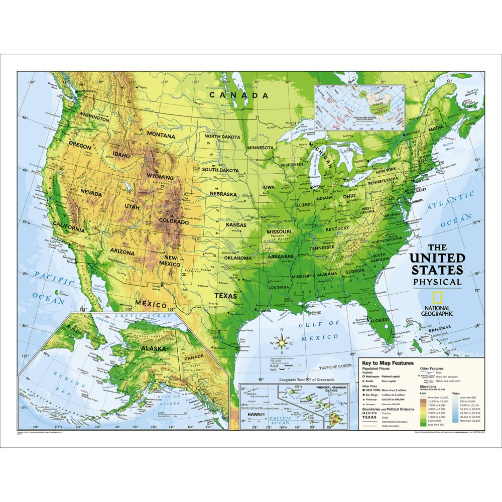 Map Of The United States Picture.Kids Physical Usa Education Grades 4 12 Wall Map Laminated 51 X