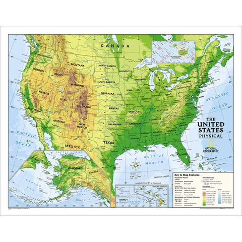 Kids Physical USA Education: Grades 4-12 Wall Map - Laminated (51 x 40 inches)