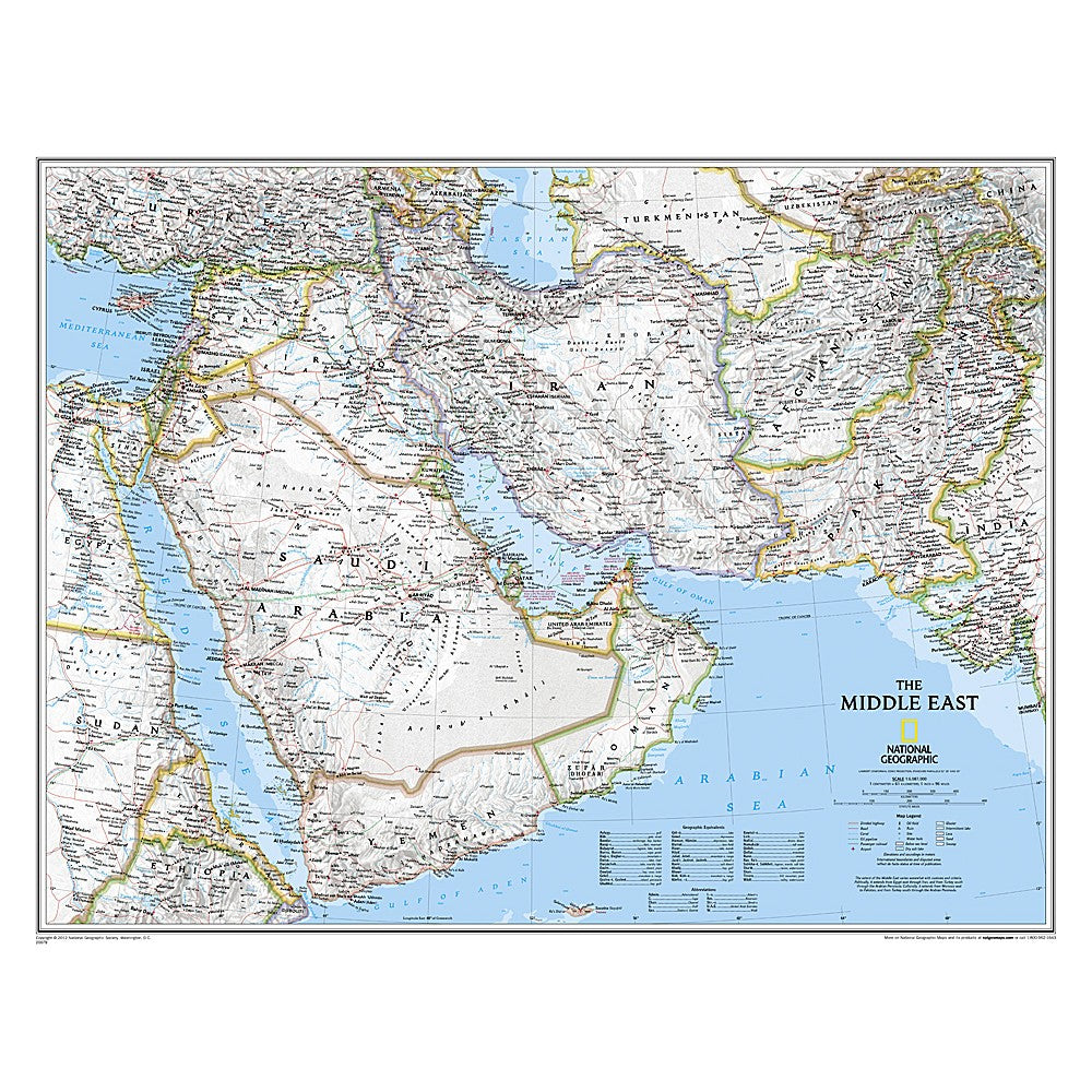 Middle East Classic Wall Map (30.25 x 23.5 inches)