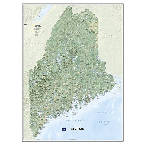 Maine Wall Map (30.25 x 40.5 inches)