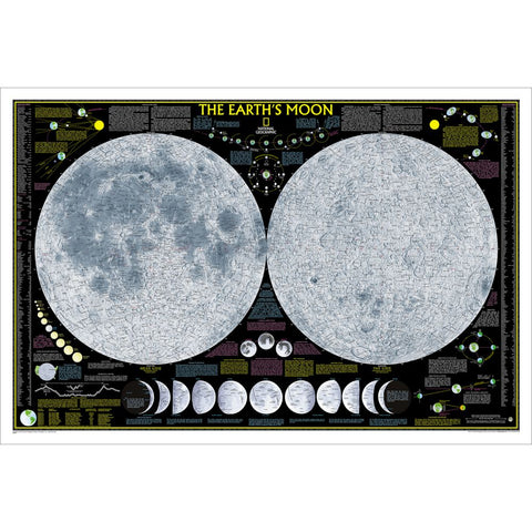Earth's Moon Wall Map - Laminated (42.5 x 28.5 inches)
