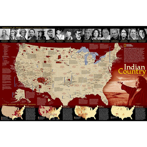 Indian Country Wall Map (31.25 x 20.25 inches)