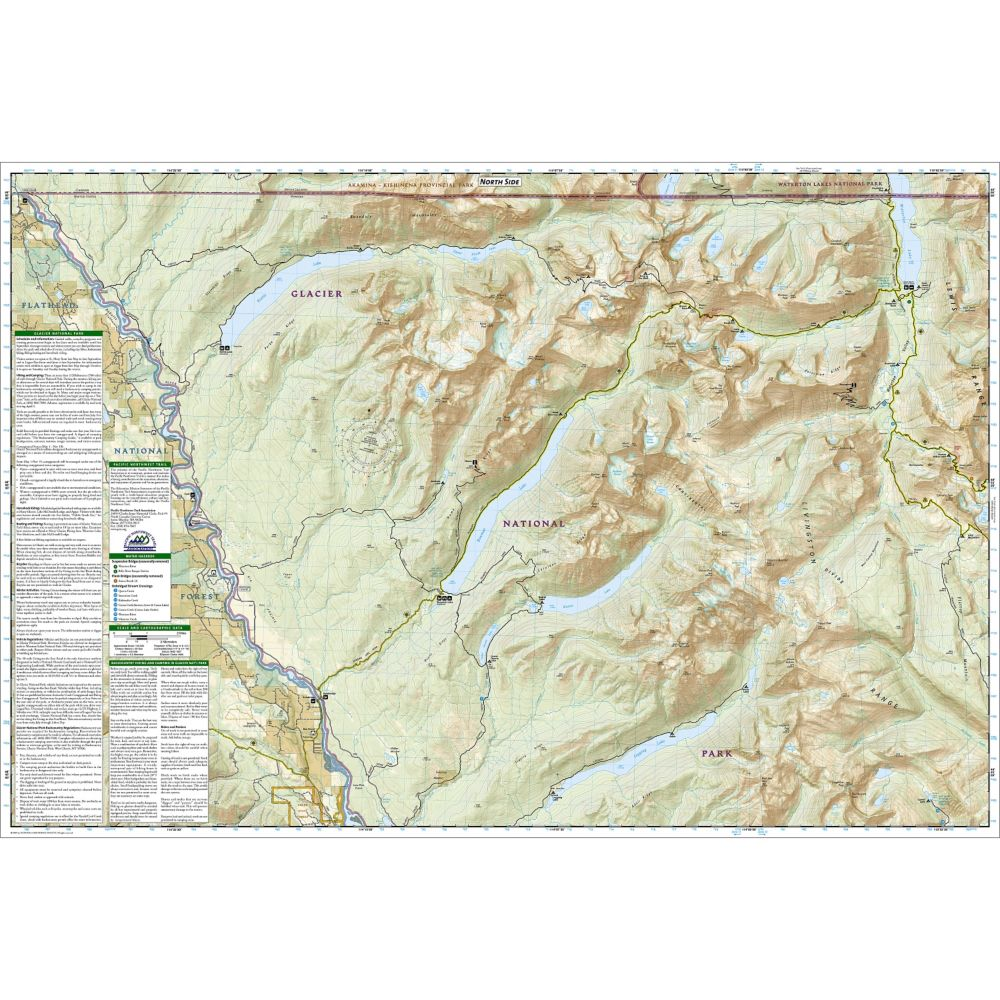 North Fork: Glacier National Park Trail Map (#313) on crater lake trail map, giant sequoia national monument trail map, grand teton national park map, great smoky mountains trail map, big bend national park map, mount rainier national park map, kings canyon national park map, chickasaw national recreation area trail map, colorado national monument trail map, cuyamaca rancho state park trail map, great bear wilderness trail map, yellowstone national park map, big cypress national preserve trail map, san isabel national forest trail map, closest national park map, hot springs national park map, waterton lake trails map, mt. baker-snoqualmie national forest trail map, glacial river trail map, chief mountain trail map,