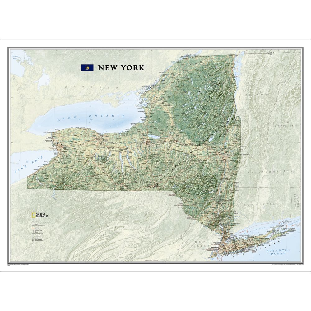 State Map Of New York.New York Wall Map 40 5 X 30 25 Inches Shop National Geographic