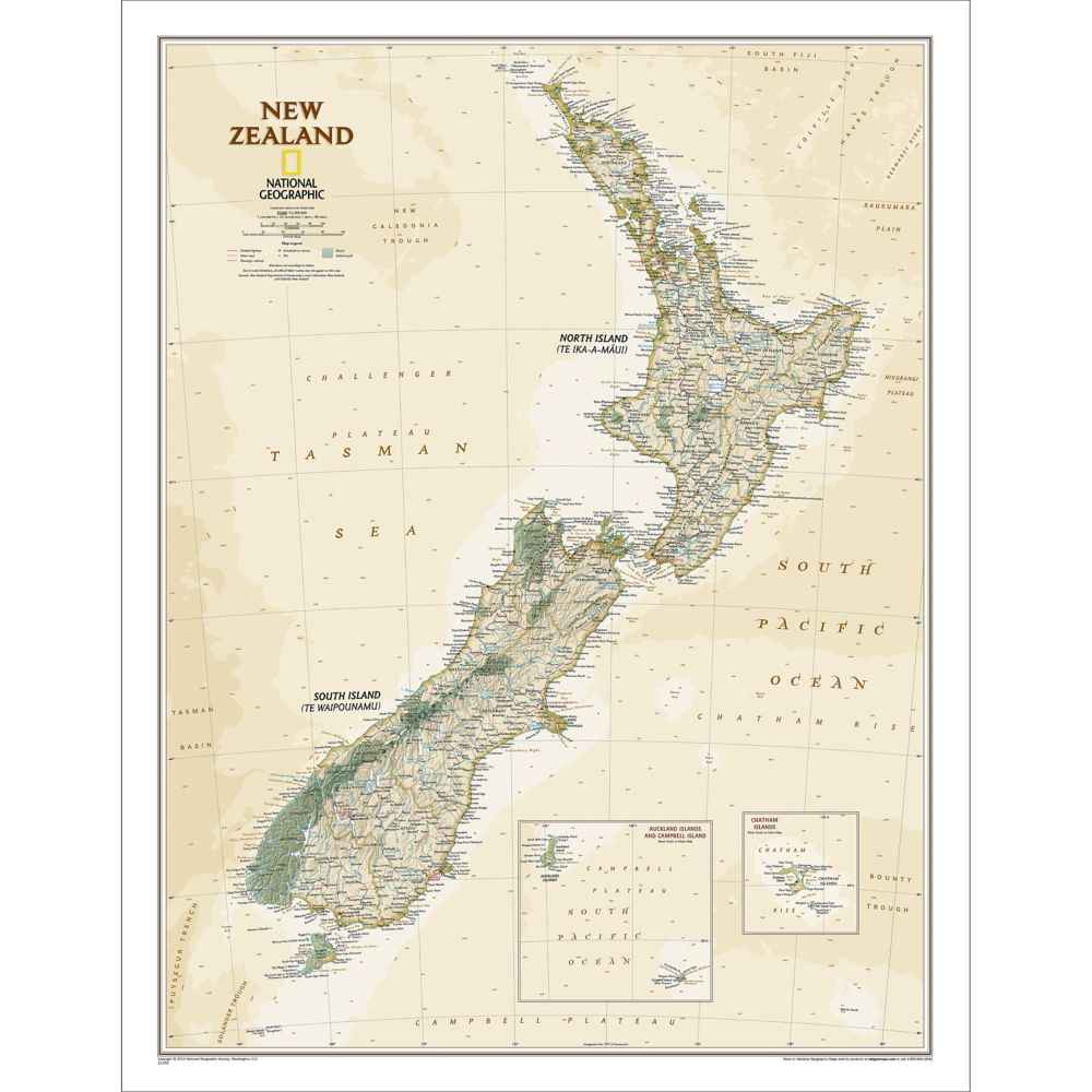 New Zealand North Map.New Zealand Executive Wall Map 23 5 X 30 25 Inches