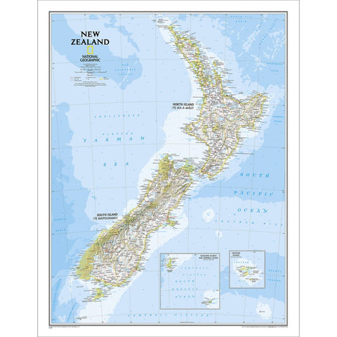 New Zealand Classic Wall Map - Laminated (23.5 x 30.25 inches)