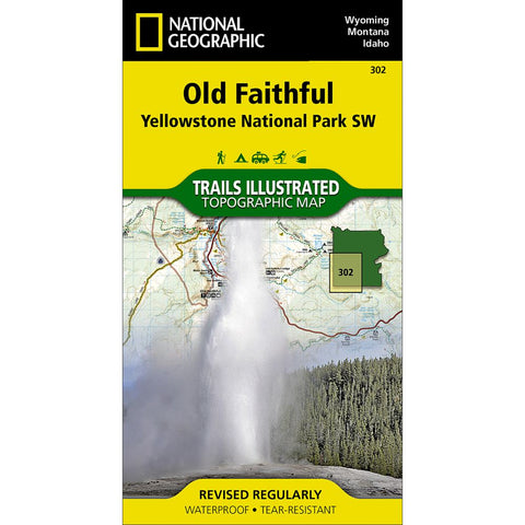 Old Faithful: Yellowstone National Park SW Trail Map (#302)