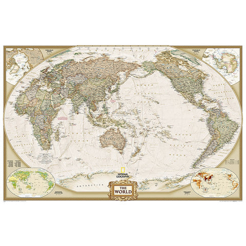 World Executive, Pacific Centered Enlarged Wall Map - Laminated (73 x 48 inches)