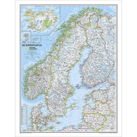 Scandinavia Classic Wall Map (23.5 x 30.25 inches)
