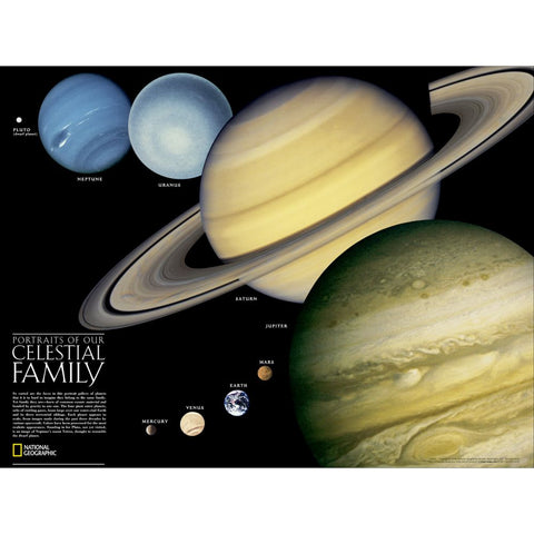 The Solar System: 2 sided Wall Map - Laminated (24.25 x 18.25 inches)