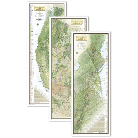 Triple Crown of Hiking in gift box Wall Map (18 x 48 inches)