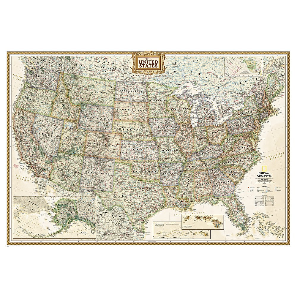 United States Executive Wall Map 43 5 X 30 5 Inches Shop