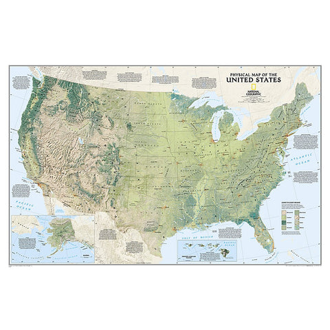 United States Physical Wall Map - Laminated (38.25 x 25.25 inches)