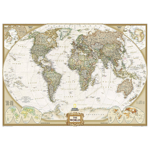 World Classic Enlarged Wall Map (69.25 x 48 inches)
