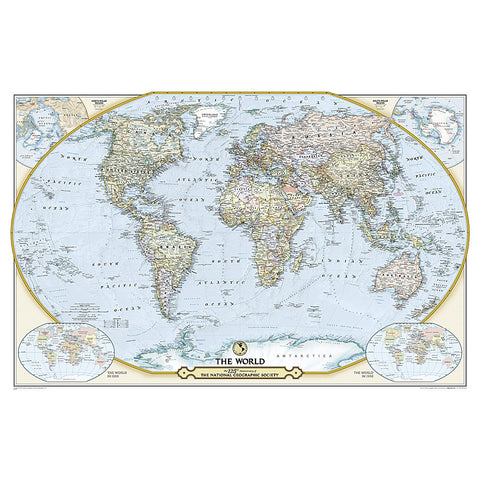 World Classic Enlarged Wall Map - Laminated (69.25 x 48 inches)