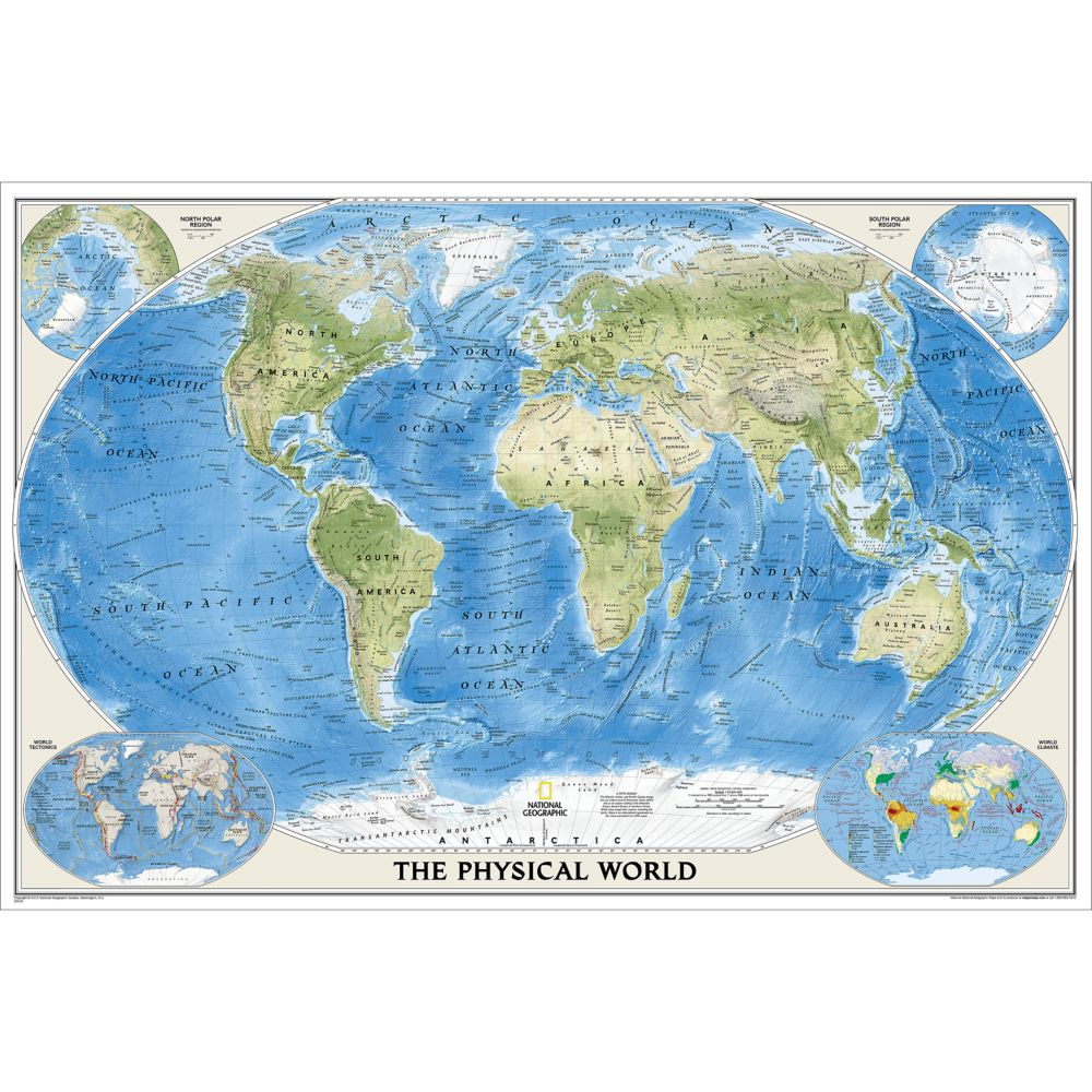 Geographic Map Of Earth.World Physical Wall Map 36 X 24 Inches Shop National Geographic