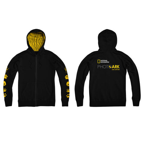 National Geographic Photo Ark Paw Prints Lined Black Hoodie
